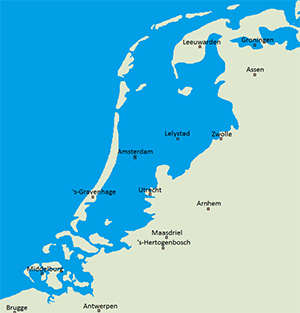map of the Netherlands below sea level