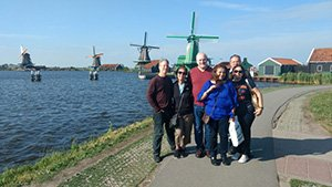 picture in front of Dutch windmills of Zaanse Schans